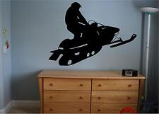"Snowmobile vinyl decal/sticker wall art snow winter sports 13"" x 18"" boys room"