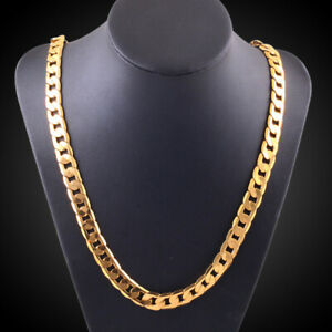 """18K Yellow Gold Plated 6mm - 10MM Classic Curb Chain Necklace 20"""" Mens & Womens"""