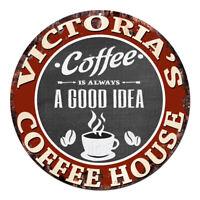 CPCH-0116 VICTORIA'S COFFEE HOUSE Chic Tin Sign Decor Gift Ideas