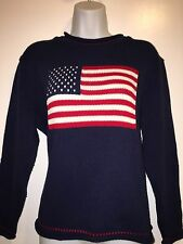 Usa Flag Sweater Country Womens M American Medium Navy Red White