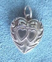 Vintage THEO World War II Era Double Heart Sterling Silver Bow Knot Puffy Charm
