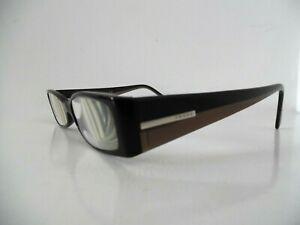 Prada Black & Brown Oval/Rectangular Eye Glasses VPR 04H 51 15 765-101 135 Italy