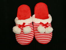 AVON RED & WHITE STRIPED SLIPPERS SM(5-6) FLAT MULTI-COLOR