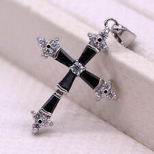 Charm Cross Pendant Black Crystal Zircon 18K White Gold Plated Pendant Necklace