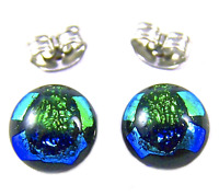 "Tiny DICHROIC Post EARRINGS 1/4"" 10mm Green Blue Round Layered Fused GLASS STUD"