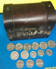 One Treasure Chest with some Silver coins & 3 steel cents, more