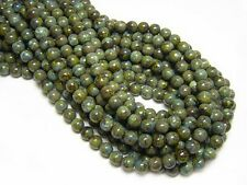 6mm Rustic Olive Picasso Czech Glass Round Beads (50) #5342