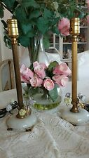 SHABBY PAIR ANTIQUE VTG porcelain FLOWER rose lamps ALABASTER FRENCH? ITALIAN?