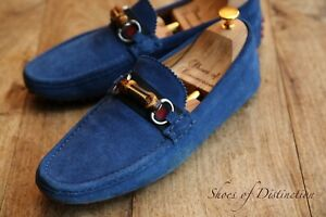 Men's Gucci Blue Suede Driving Shoes Bamboo Loafers UK 8 EU 42 US 9