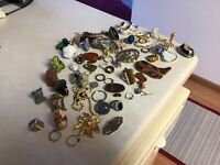 Vintage-Now Mixed Junk Drawer - Cuff Links,Rings, Keychains Miscellaneous Items