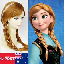 Frozen Anna Wigs Costume Disney Girls Dress Cosplay Party  Princess Ice Queen