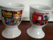 egg cups  Bob the Builder 2000    Postman Pat 1996  set of 2 vintage egg cups