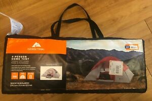 Ozark Trail Four 4-Person 9ft x 7ft Outdoor Camping Dome Tent (Red/Gray), New