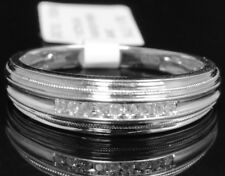 10k White Gold Men's Round Genuine Channel Diamond 6mm Wedding Band Ring 1/10ct