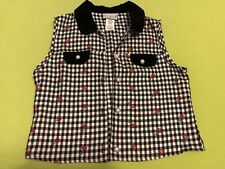 Yoo Babes Black & White Check Vest Rose Embroidered Pearl Type Button Xl Xlarge