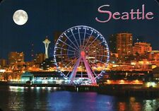 Seattle Great Wheel & Skyline, Space Needle, Washington State, Ferris - Postcard