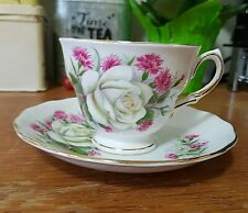 Royal Vale Tea Cup & Saucer Bone China England Ridgway Potteries White Rose