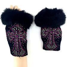 USA Women Western Cowgirl Cross Fingerless Knit Gloves Faux Fur Mitts Black/Pink