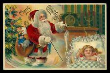 Vintage SANTA Postcard 1900s MERRY CHRISTMAS Germany EMBOSSED