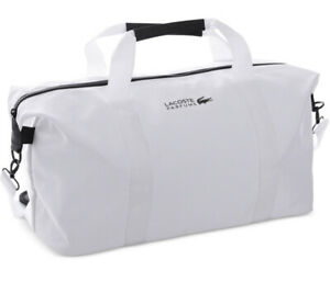NEW Lacoste Parfums White Weekender Gym Sports Weekender Duffle Bag w/ Strap