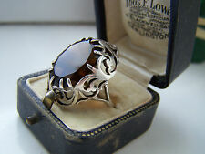 BEAUTIFUL OVERSIZED STERLING SILVER RING LARGE SMOKY QUARTZ SIZE P UNIQUE RARE