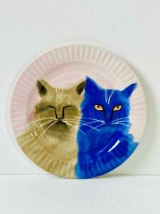 Anthropologie Holly Frean Dessert Plate The Farm No.6 Blue & Grey Cats 2015