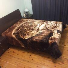Thick Winter 600GSM Queen Size Faux Mink Fur Blanket - Lion