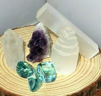 Crystal collection Clear Quatz/Blue Obsidian/Selenite Tower/Stick/Amethyst GIFT