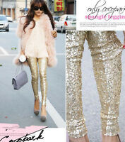 Women Lady Sequins Sequined Rock star Shine bling Party skinny Pants Leggings