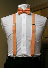 Orange Suspenders and Bowtie set clip-on x back formal tux steampunk bow tie