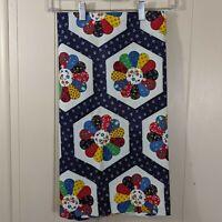 "Vintage canvas fabric 70s 80s blue patchwork 31"" x 70"" craft sew 3/4 yard"