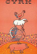 Original Vintage Poster Cyrk Pig Turkey Sheep Chicken Circus Polish 1971