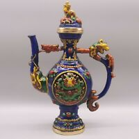"9.05"" China Cloisonne Enamel Bronze Animal Dragon Wine Pot Flagon Teapot Statue"