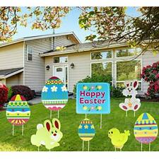 Outdoor Easter Decorations,8pcs Yard Signs with Stakes,Bunny Easter.