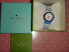 Kate Spade Women's Rumsey Gold Watch Blue White Striped Silicon Strap KSW1088