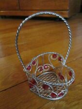 Valentine Heart Basket Small Wire Twisted Silver Color Red Beads Collectible