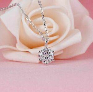 2.30Ct Round Cut Simulated Moissanite Pendant 14K White Gold Over Free Chain