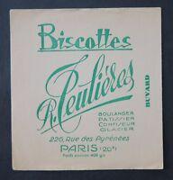BUVARD Biscottes TEULIERES Boulanger Patissier Confiseur Glacier PARIS blotter