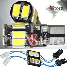 2 Led T10 Lampade 10 SMD Canbus 5630 BIANCO W5 No Errore CDB + 2 RESISTENZE