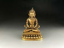 Rare Chinese Bronze Gold plating Guanyin Bodhisattva Statues The Ming Dynasty