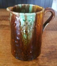 Brown Green Drip Glaze Art Pottery Pitcher Majolica? Creamer Bull Animal Faces