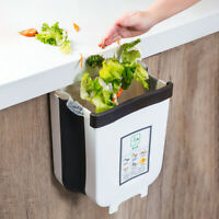 6/9L Wall Mounted Foldable Waste Bin Kitchen Cabinet Door Hanging Trash Can Bin