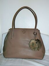 *NWT* LOUISE ET CIE~ TAUPE LEATHER FUR-POM TOTE $378
