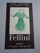 AFFICHE FELLINI 1977 GALERIE PAUL FACCHETTI  38X65cm