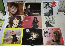 Lot of 9 45 Records Benatar Blondie Joan Jett Stevie Nicks Lauper Picture Sleeve