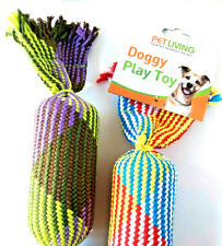 STRONG DOG TUG ROPE DOUBLE HONKING TOY 50CM STITCHED PLAITED PUPPY SOFT
