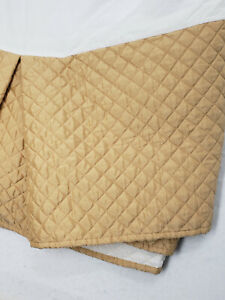 Waverly Home King Quilted Bed Skirt Gold Luxury 14 in Drop EUC