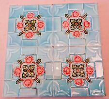 VINTAGE TILE  SAJI JAPAN ART NOUVEAU MAJOLICA ARCHITECTURE COLLECTABLES 4 Pc LOT
