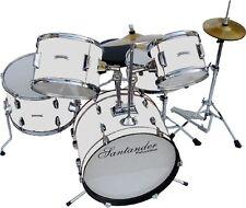 Santander Schlagzeug großes Kinderschlagzeug Komplett Set, 8 teilig, weiß