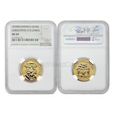 Jamaica 1975FM(P) Christopher Columbus $100 Gold NGC MS69